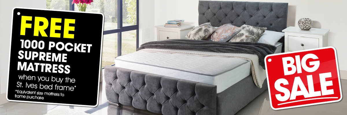Big Sale - St Ives Fabric Bed Frame + Free 1000 Pocket Supreme Mattress