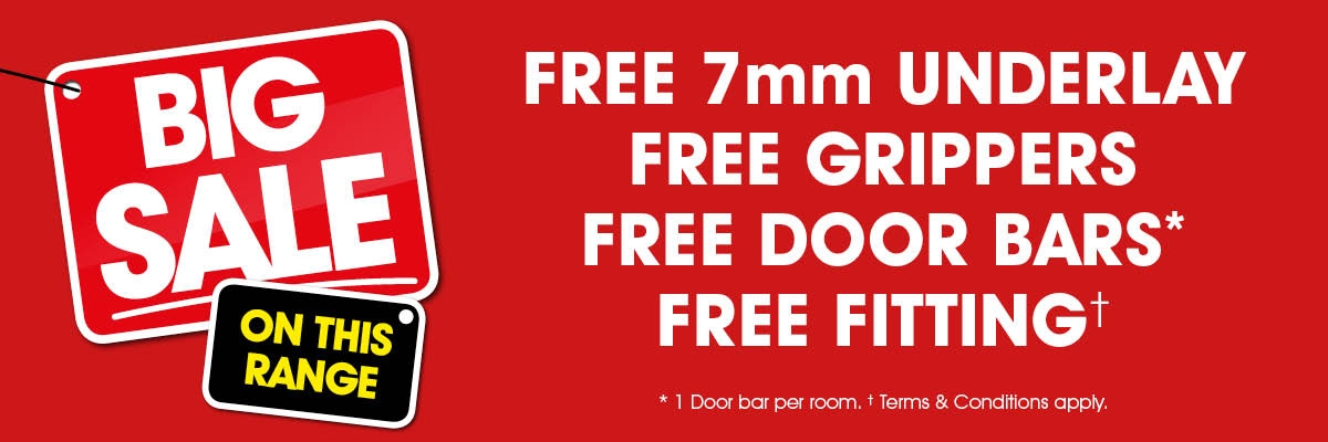 Free 7mm Underlay + Free Grippers + Free Door Bar + Free Fitting
