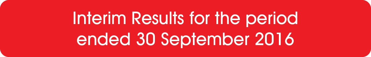 Interim Results for the period ended 30 September 2016